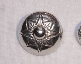 Vintage Danish or Norwegian engraved Silver Peasant Button - back marked Silver Button