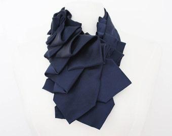 Lapel Necktie Ruffle Collar in Navy Satin Silk