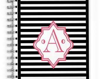 Monthly Calendar Planner - Monogrammed Spiral Notebook