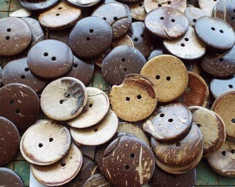 "50 Coconut Buttons, 1"", 25mm, blems, seconds, buttons with Lots of Character, aloha shirt buttons, sewing, crafts, scrapbook"