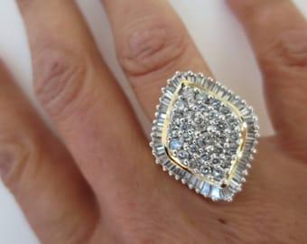 Diamond 14K Gold Ring Ballerina Cluster Starburst Two Tone Cocktail Statement Dress Estate Fine Jewelry Size 7
