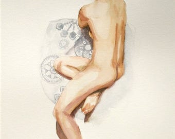 sitting female nude woman watercolor  figure art