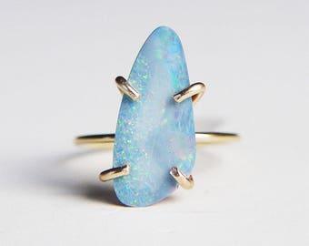 Blue Fire Opal Gold Ring OOAK