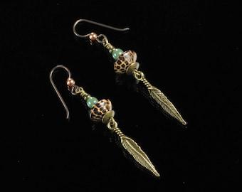 Boho Feather Earrings, Long Brass Dangle Earrings, Niobium Earrings, Boho Jewelry, Rustic Boho Brass Jewelry, Birthday Gift for Girlfriend