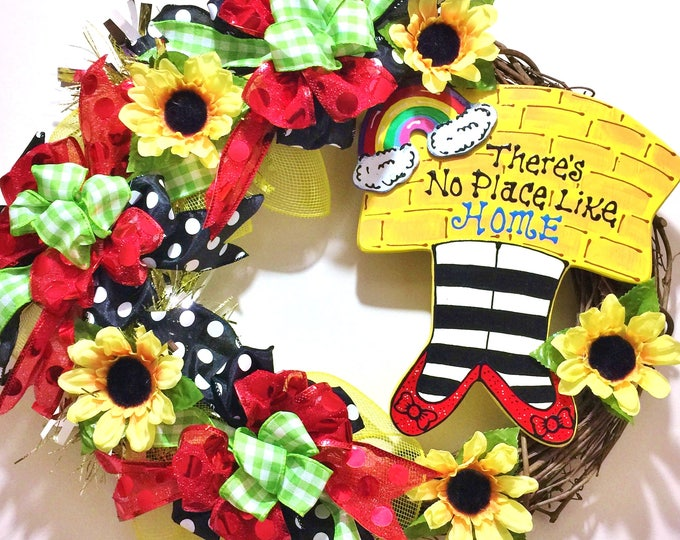 FREE SHIPPING There is No Place Like Home Wizard of Oz - Welcome Door Grapevine Wreath