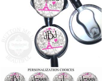 "1 1/2"" Design Stethoscope ID Tag - Personalized Pink and Gray Paris Eiffel Tower Nurse Littmann Identification (A373)"