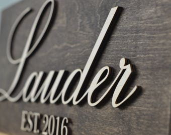 Wood Sign, Last Name, Family Established, Personalized Wooden Sign, Custom, Rustic Home Decor, Wedding Gift