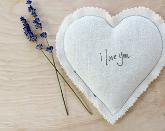 Rustic Heart Sachet, Something Blue Lavender Sachet Wedding Gift for Bride, I Love You Cotton Anniversary Gift for Wife