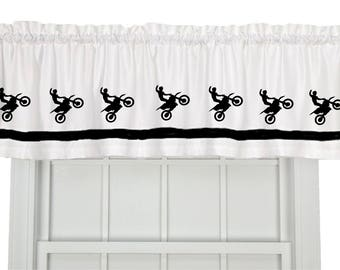 Dirt Bike Motocross Motorcycle Window Valance / Treatment - Your Choice of Colors