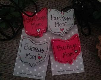Buckeye Mom Necklace or Pin