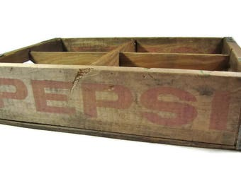 Vintage PEPSI COLA CRATE / 4 Sections / Held 24 Bottles / Red Pepsi Logo / Natural Wood / Soda Pop Bottle Crate