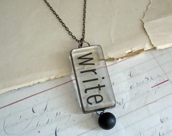 Write Long Necklace Word Statement Jewelry Stained Glass Transparent