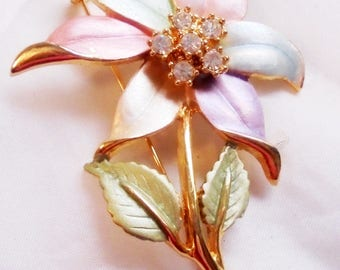 Vintage Soft Pastel Colored Enamel Pin with Rhinestone Flower Center
