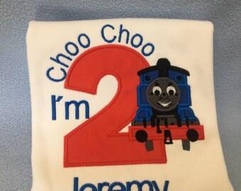 2nd Birthday Train Shirt  Thomas train Second Birthday   Boy Birthday Shirt