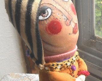Original art doll Zelda Girl with Striped Hat hand -made,hand painted,OOAK miliaart studio