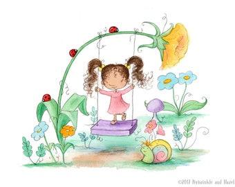 The Garden Swing - Brunette Girl with Curly Hair - Art Print