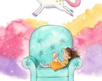 Unicorn Story - Brunette Girl Reading - White Skin - Art Print - Children