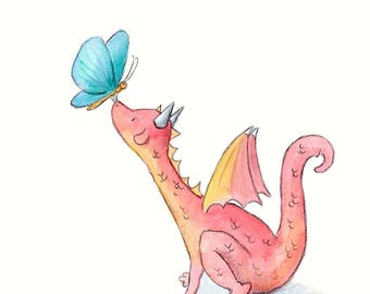 Petal the Dragon and Blue Butterfly - Art Print