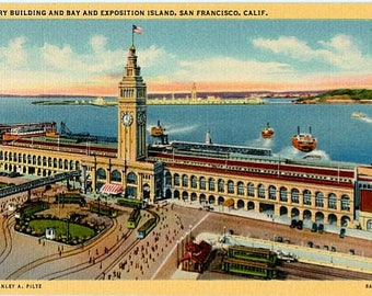 Vintage California Postcard - The San Francisco Ferry Building (Unused)