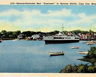 Vintage Cape Cod Postcard - The Siasconset Ferry in Hyannis Harbor (Unused)
