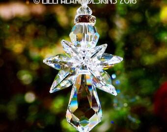 m/w Swarovski *Crystal Clear Angel* Rare Suncatcher Rainbow Maker Rear View Mirror Guardian Angel For Home or Auto Lilli Heart Designs