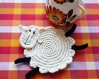 Sheep Coasters - Farmer Coasters - Crochet Coasters - Gift for Farmers - Set of 2 - Sheep Lover - Farm Decor - Sheep Gift - Gift for Her