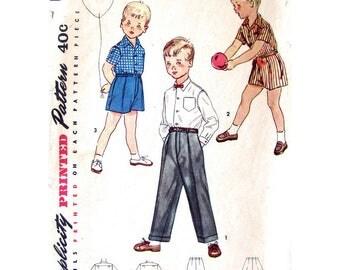 1950s Boys Shirt Shorts Trousers Pattern Simplicity 4166 Dress Shirt & Pants Boys Size 6 Vintage Sewing Pattern