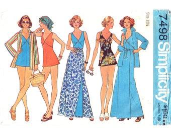1970s Bathing Suit, Wrap Skirt, Shirt Jacket Pattern Simplicity 7498 Swimsuit Maxi Skirt Womens Bust 35 Sewing Pattern Half Size UNCUT