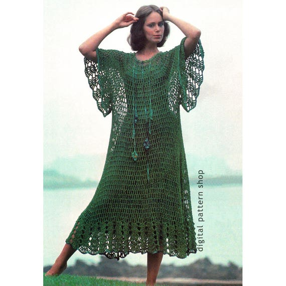 Caftan Beach Dress Crochet Pattern Mesh Hippie Kaftan Boho Cover Up Instant Download PDF