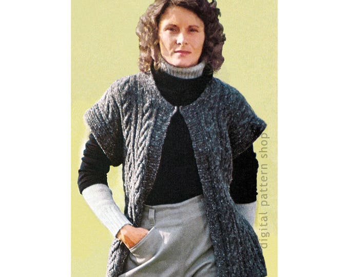 Vest Knitting Pattern Womens Cable Knit Vest Cap Sleeves Instant Download PDF