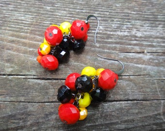 Red, Yellow, Orange Dangle Earrings/ Bright Earrings/ Autumn Colour