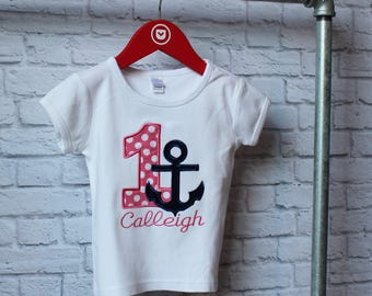Personalized Girl Nautical birthday shirt - Anchor Birthday Shirt - You Choose your Fabric - by Pocketbrand