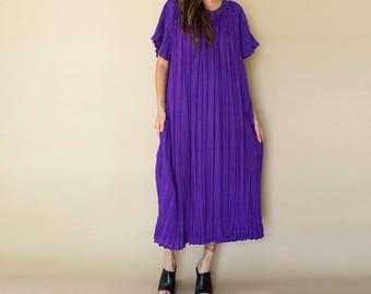 vintage 70s purple MICRO PLEAT maxi dress OS