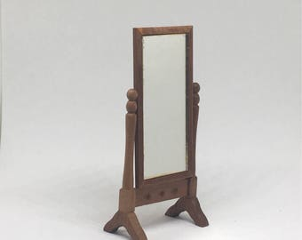 Dollhouse Dressing Mirror, Wooden Standing Mirror, Vintage Miniature Tall Mirror with Swivel