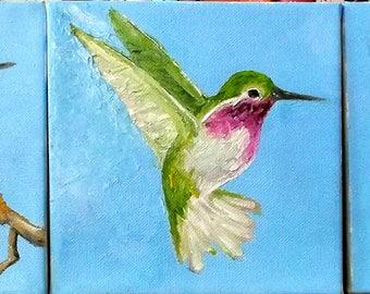 Calliope HUMMINGBIRD Painting Tryptych Set of Three Original O/C Lynne French Garden Impressionist Art Each 6x6