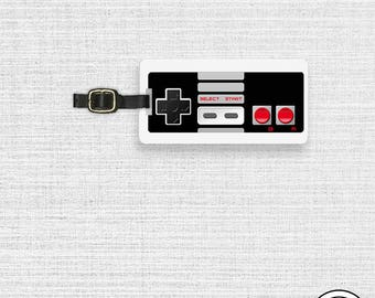 Luggage Tag Retro Video Game Controller- Metal Tag Personalized Printed Single Tag gamer Gift