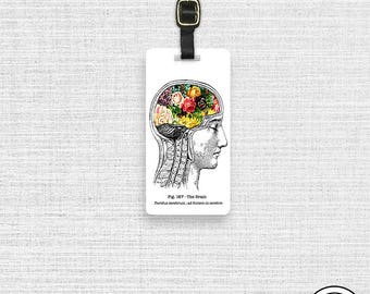 Luggage Tag Spring on The Brain Floral Vintage Medical Chart Tag - Single Tag