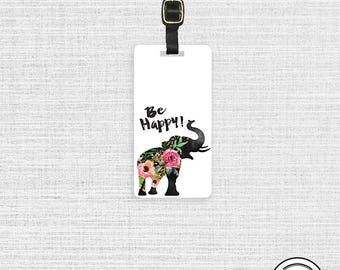Luggage Tag Be Happy Floral Shabby Cottage Chic Elephant - Metal Tag with Printed Personalization