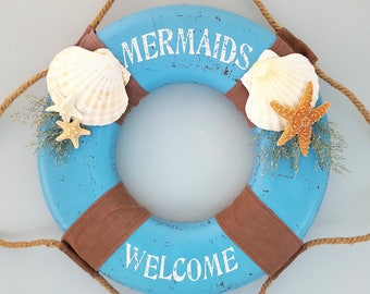 "Mermaid Life Preserver Beach Decor Wreath - Nautical Decor ""Mermaids Welcome""  Life Ring Wreath w Seashells & Starfish Accents - 3 Colors"