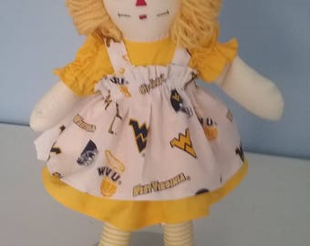 NCCA West Virginia Mountaineer  15 in Raggedy Ann doll  HANDMADE