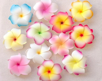 Flower Hair Clips, One Dozen,  Plumeria Hair Flowers,  Floral Hair Clips, Choose The Colors