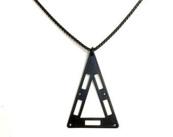 Mens Necklace w/ Triangle Pendant. Guys Geometric Necklace. Stainless Steel Necklace. Unisex Jewelry for Him and Her