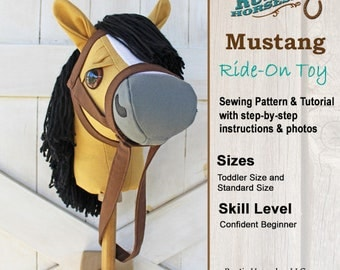 Stick Horse Sewing Pattern and Tutorial Rustic Horseshoe's Mustang Collection Stick Horse Hobby Horse Pattern