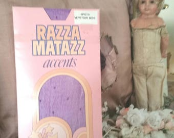 vintage purple tights, razza matazz tights, purple polka dots, 70s vintage tights, 80s costume