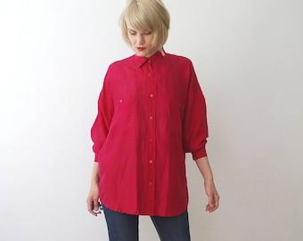 90s neon pink silk shirt. men's silk shirt. oversized slouch shirt. silk Oxford shirt - men's M, women's L XL