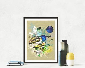 Little Yellow Birds Fine Art Print - Art for Children and Teens - Art for All - Artwork - Bird Artwork - Nature - Digital Print -Gift