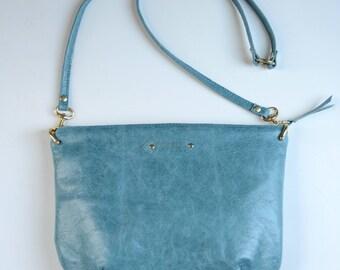 Nana mini leather dart bag: Peacock blue