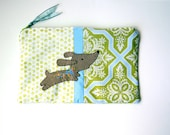 """Zipper Pouch, 8.5 x 5.5"""" in green, blue, cream and taupe flowers nad polkadot fabric with Handmade Felt Dog Embellishment, Dog Zipper Pouch"""