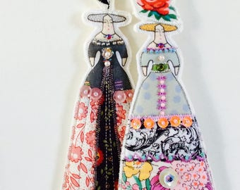 Whimsical Set of Two Flower Lady Doll Decorations Handmade Embellished Flat Fabric Tiny Doll Ornaments