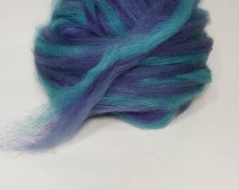 Suri Alpaca Roving. Hand Dyed, Silky Soft Roving, Purple, Steel Blue Roving, Purple  Bouquet
